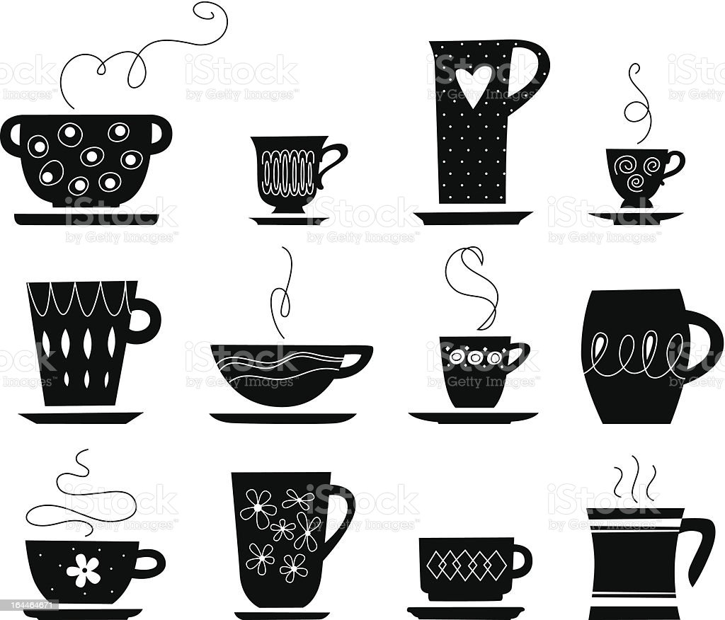 cups of tea or coffee vector art illustration