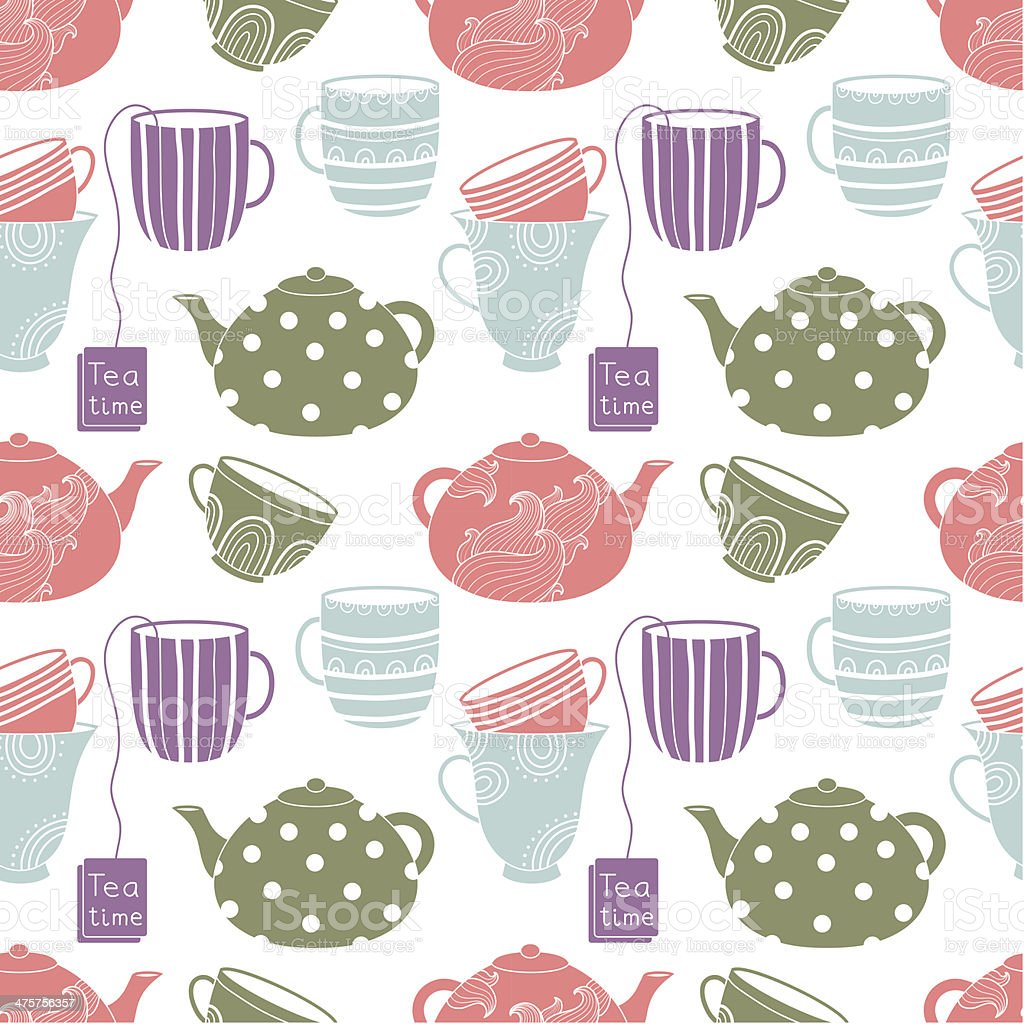 Cups seamless pattern royalty-free stock vector art