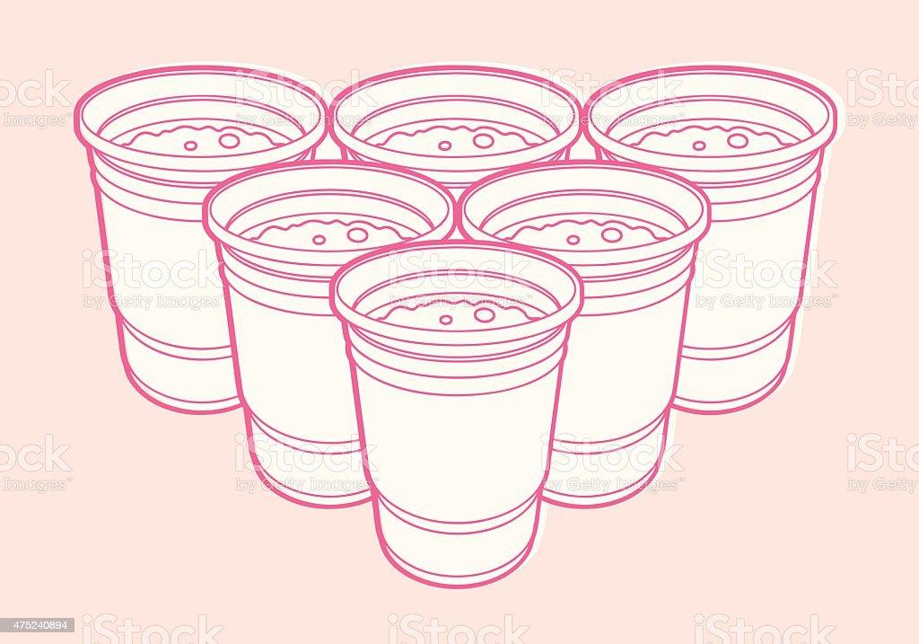 6 Cups vector art illustration