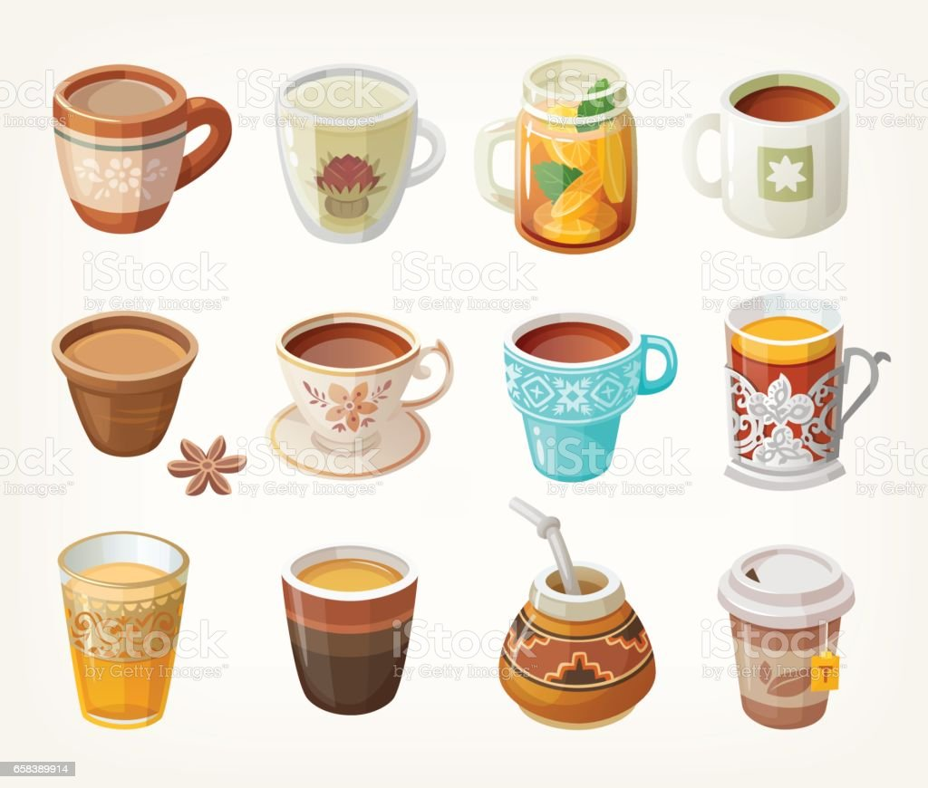 Cups with tea vector art illustration