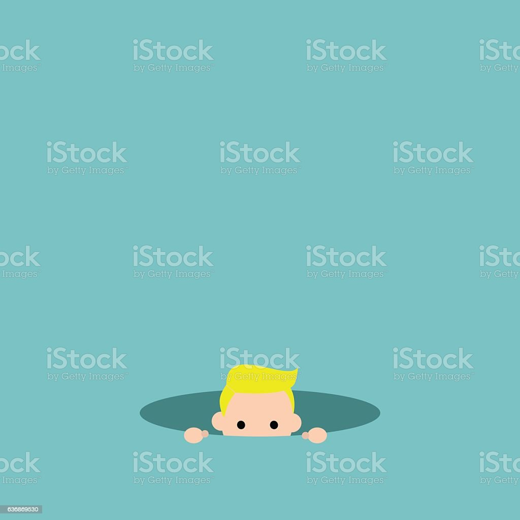 Curious blond boy hiding in the hole and prying vector art illustration