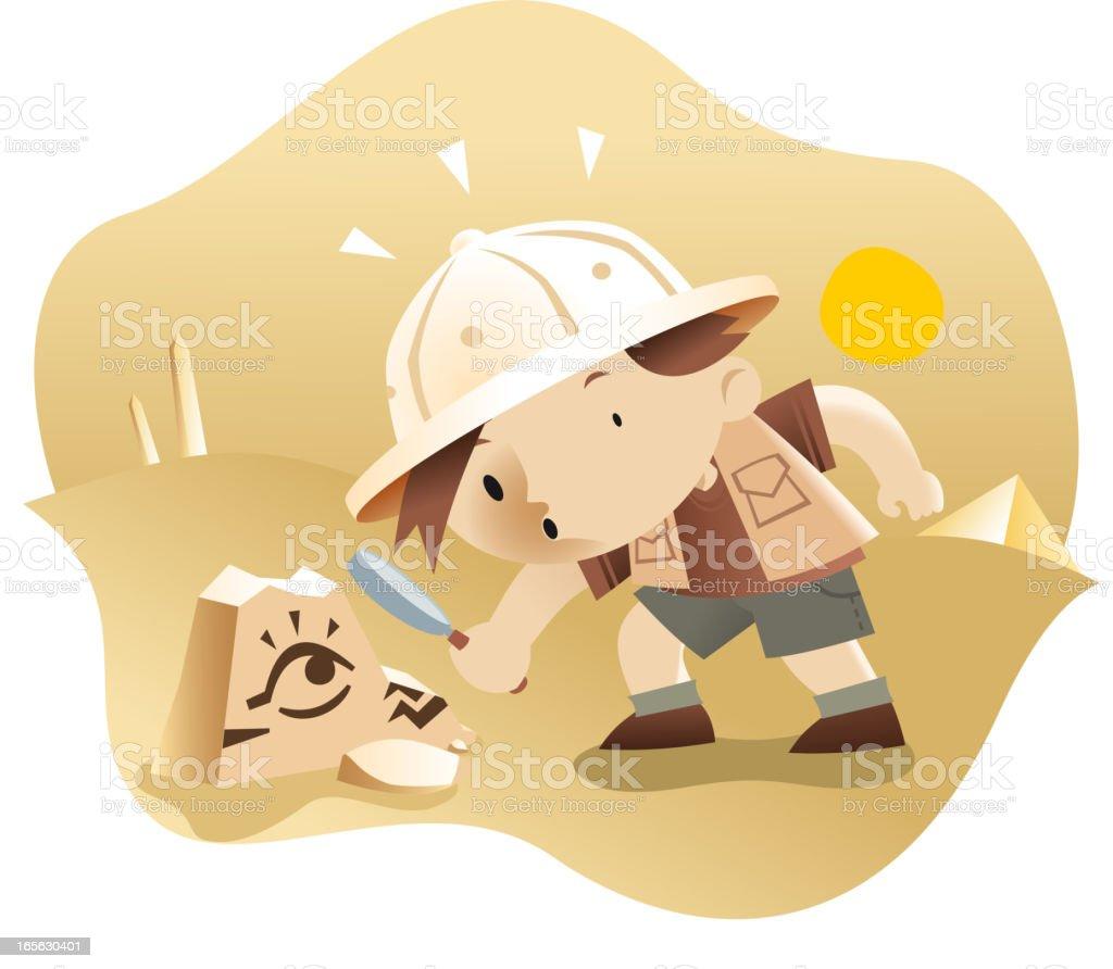 Curious boy vector art illustration