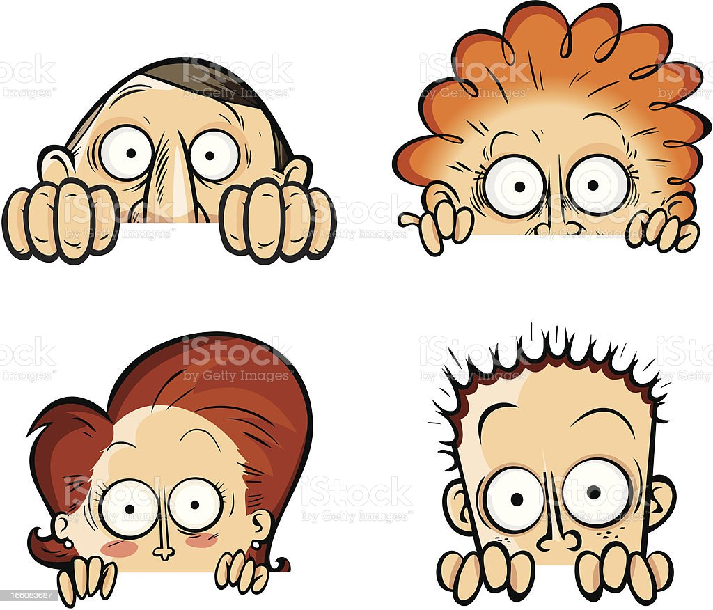 Curious looking characters vector art illustration