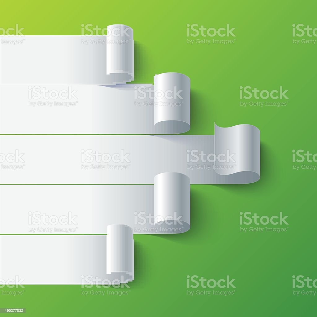 Curled blank paper stripe banners arrow on green background vector art illustration