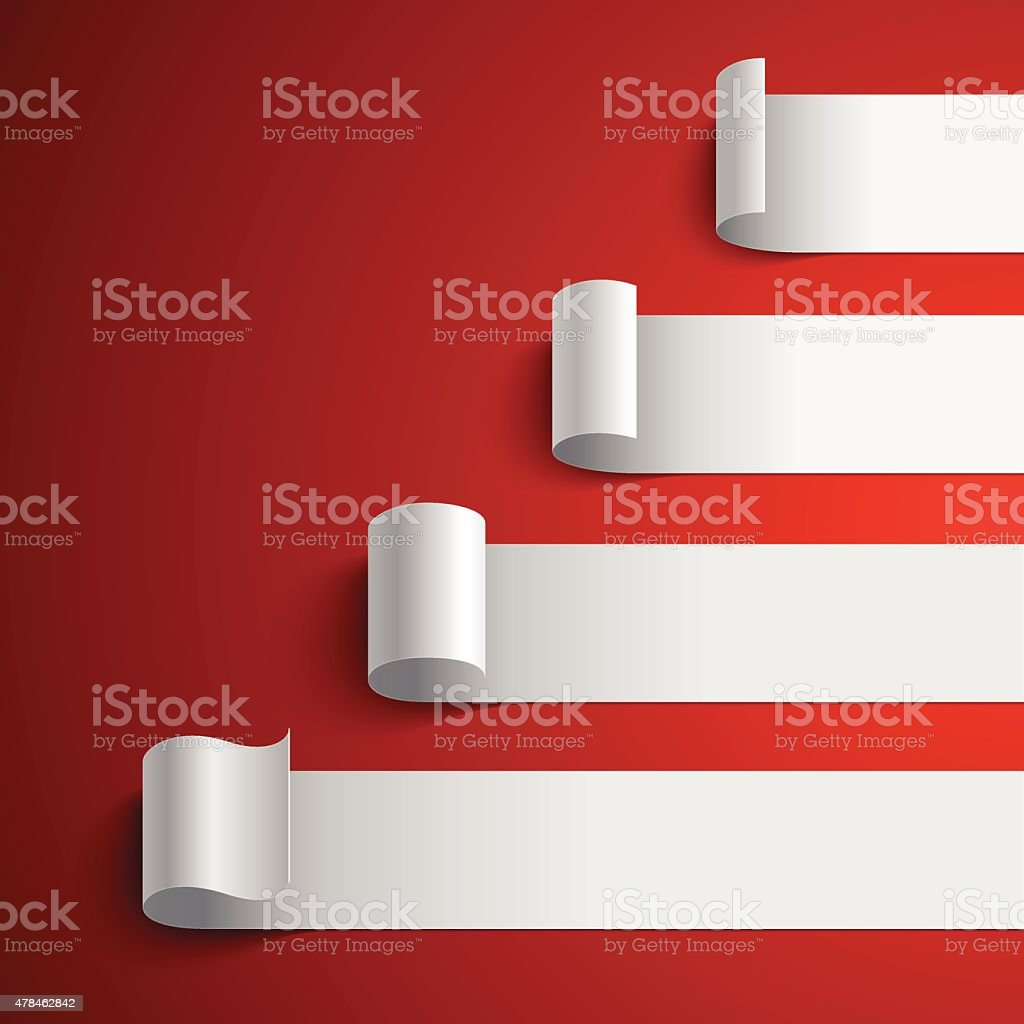 Curled blank white paper stripe banners chart on dark red vector art illustration