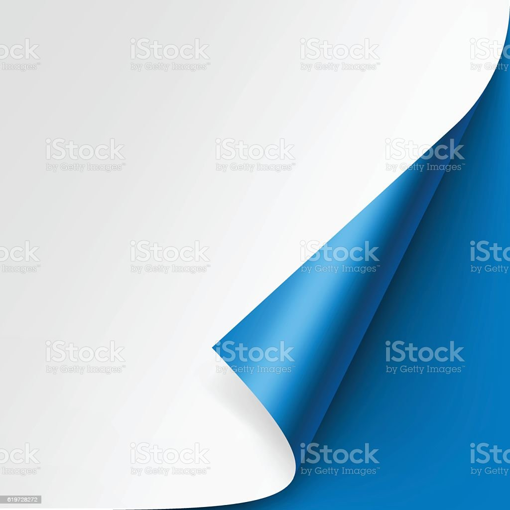 Curled corner of White paper on Blue Background vector art illustration