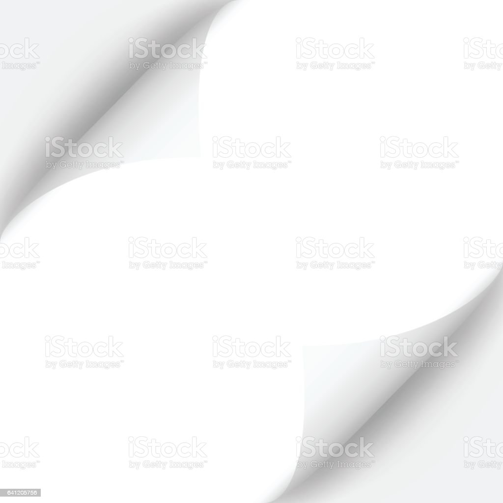 Curled page with shadow on blank sheet of paper vector art illustration