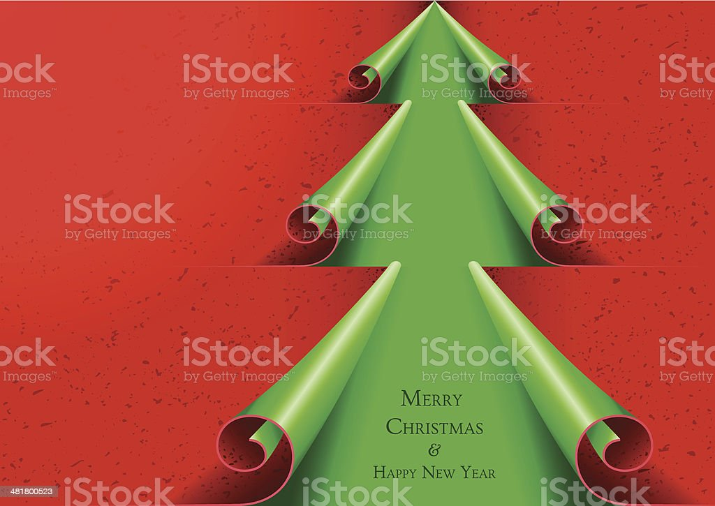 Curled Paper Christmas Tree royalty-free stock vector art