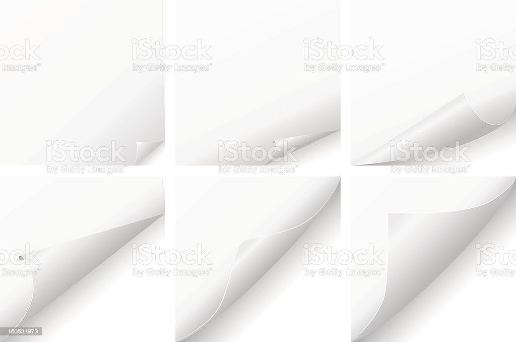 curled paper set royalty-free stock vector art