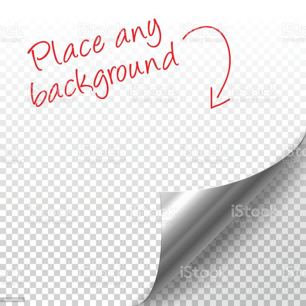 Curled silver page corner with shadow on transparent background vector art illustration