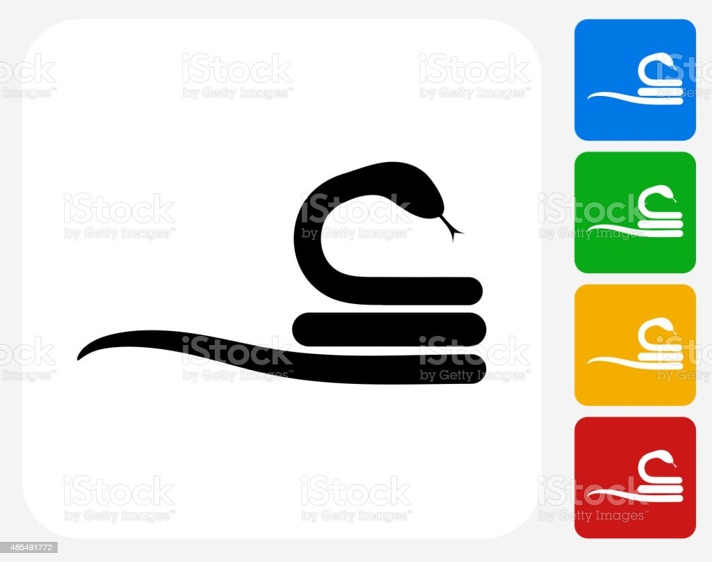 Curled Up Snake Icon Flat Graphic Design vector art illustration