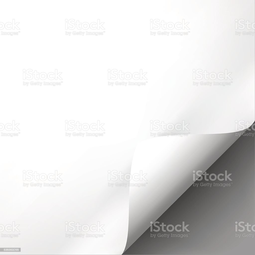 Curled white paper corner mockup template vector art illustration