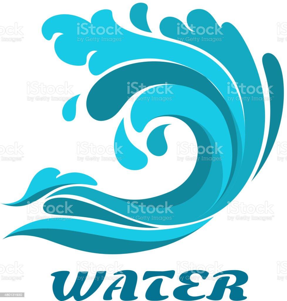 Curling ocean wave abstract symbol vector art illustration