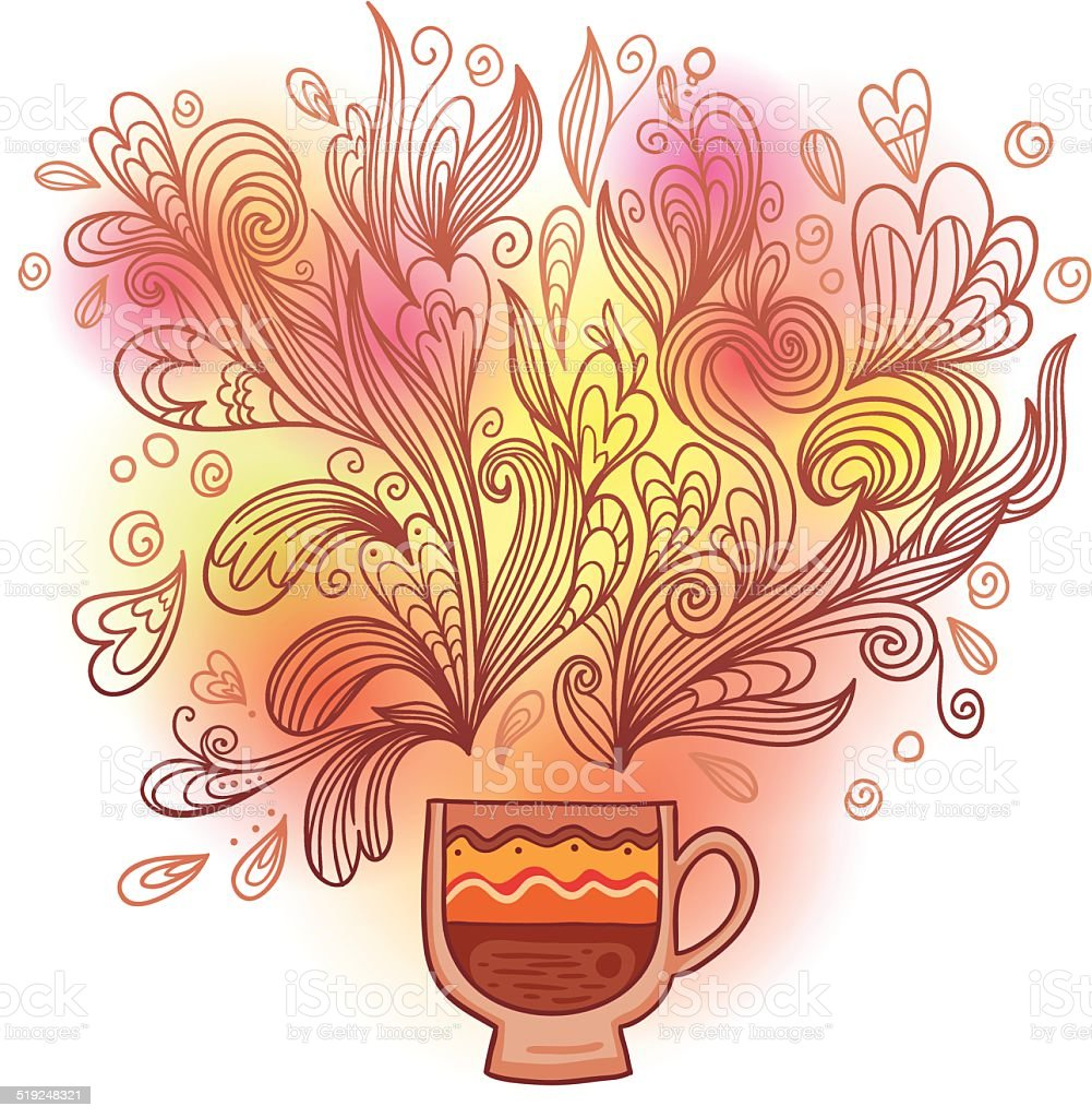 Curly and steamy tea party cup vector art illustration