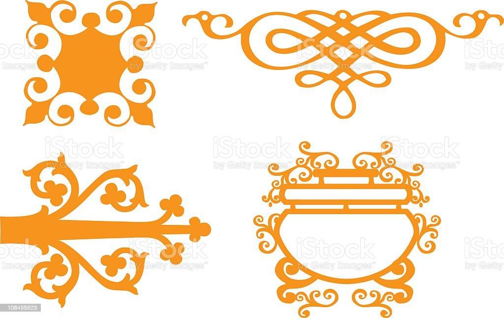 Curly design elements - vector vector art illustration