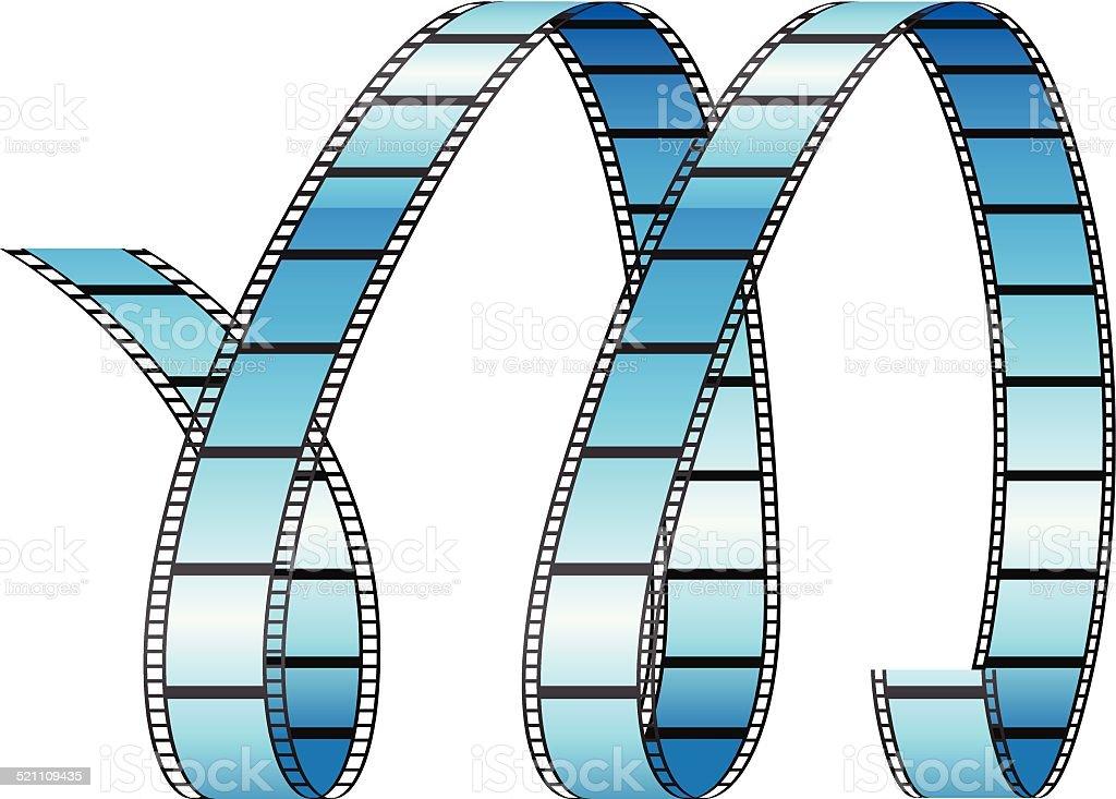 Curly Bobine de Film formant Lettre M stock vecteur libres de droits libre de droits