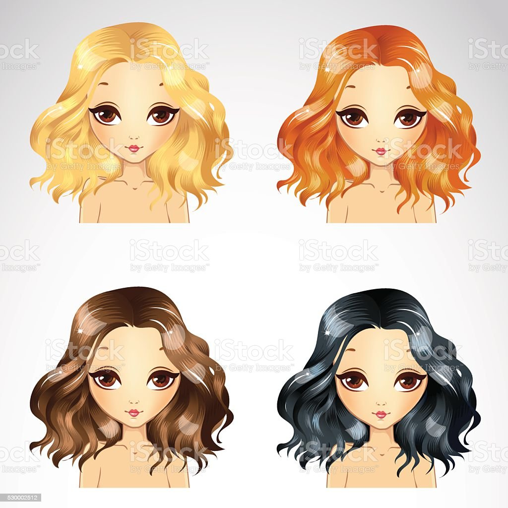 Curly Fluffy Hairstyle Set vector art illustration