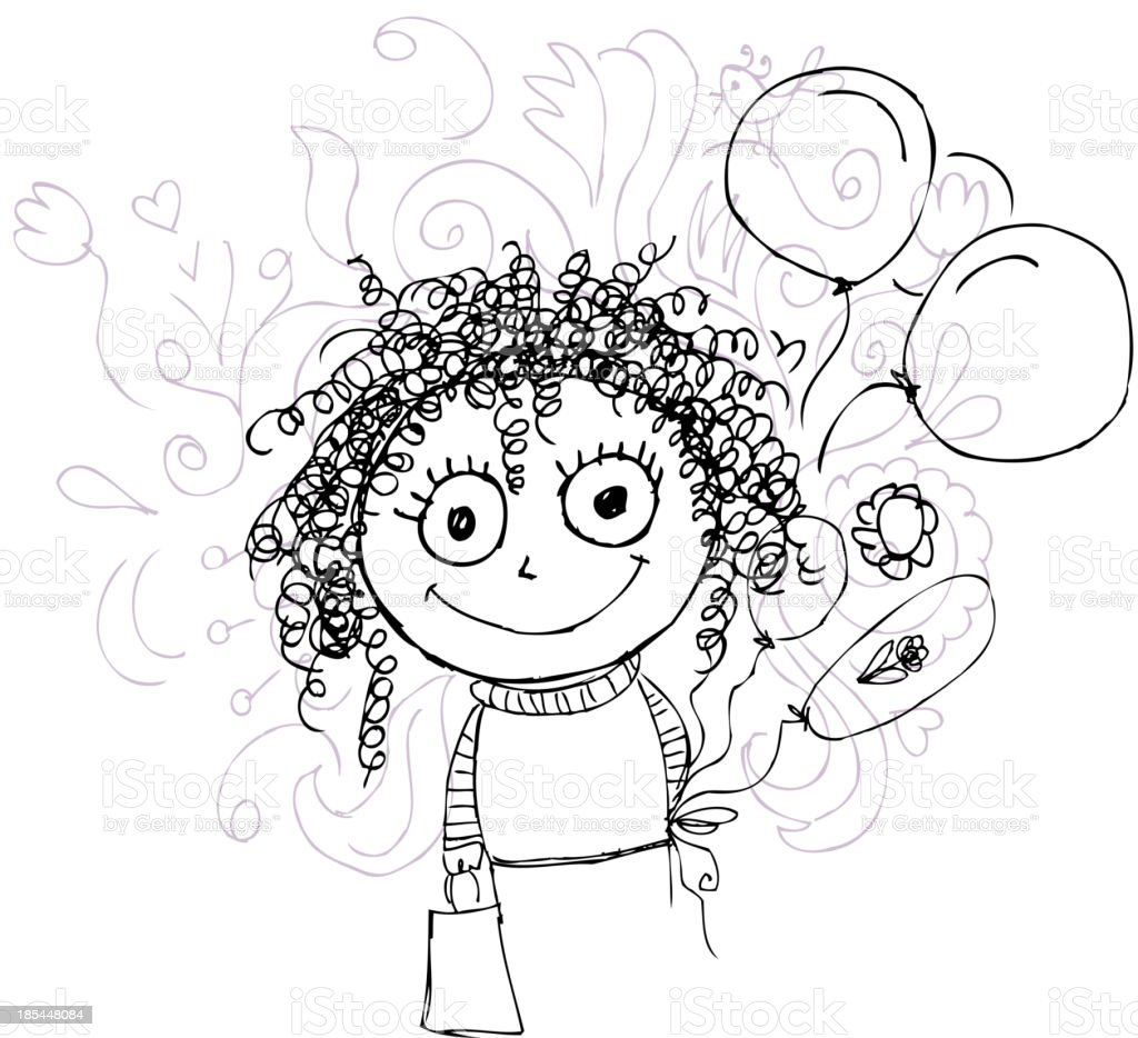 Curly girl sketch with balloons for your design royalty-free stock vector art