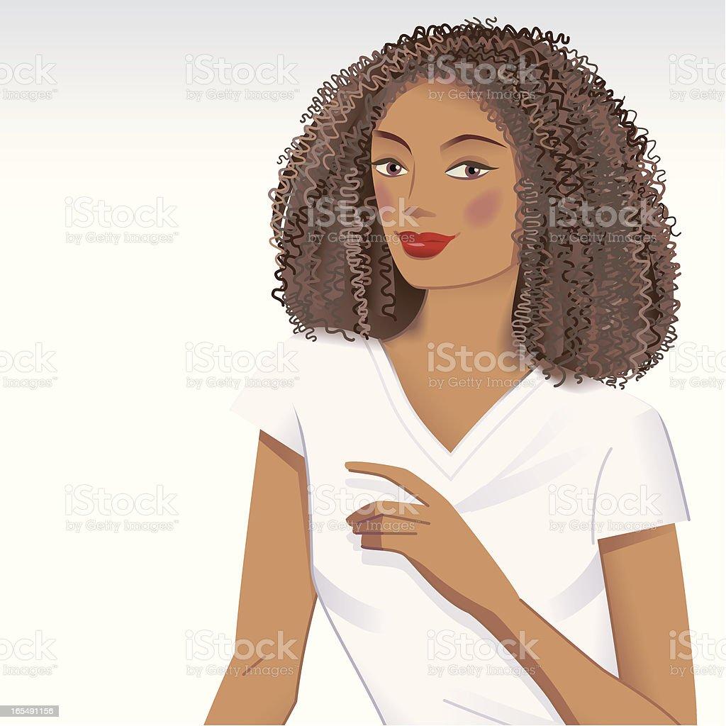 Curly hair girl vector art illustration