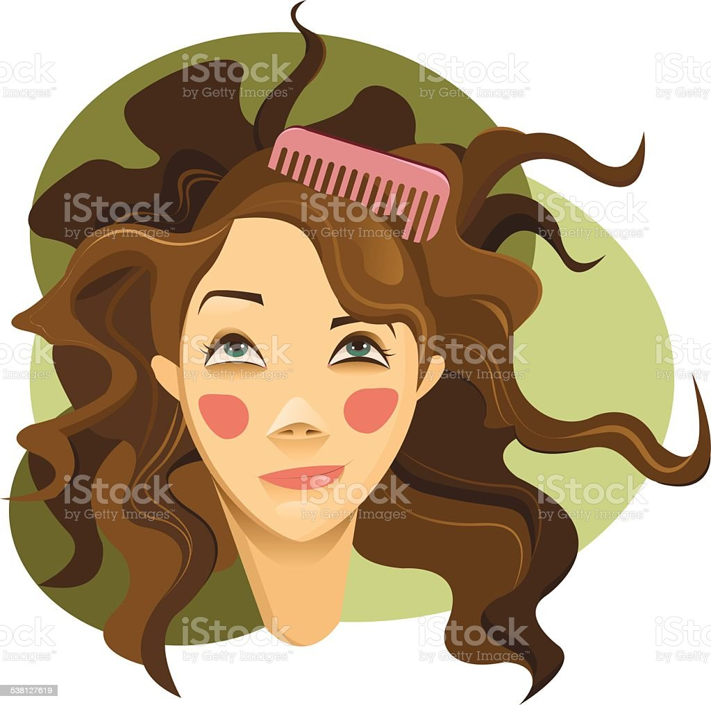 Curly hair girl vector art illustration