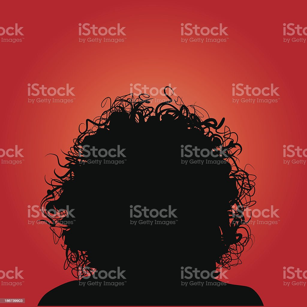Curly Hair Silhouette Woman royalty-free stock vector art