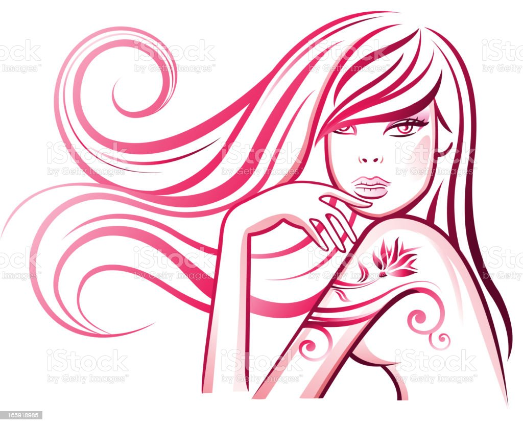 Curly haired girl with tattoo vector art illustration