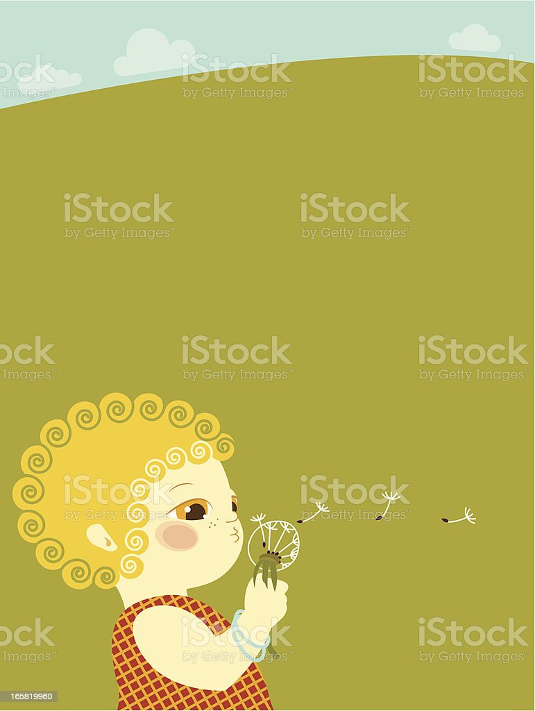 Curly head girl with dandelion royalty-free stock vector art