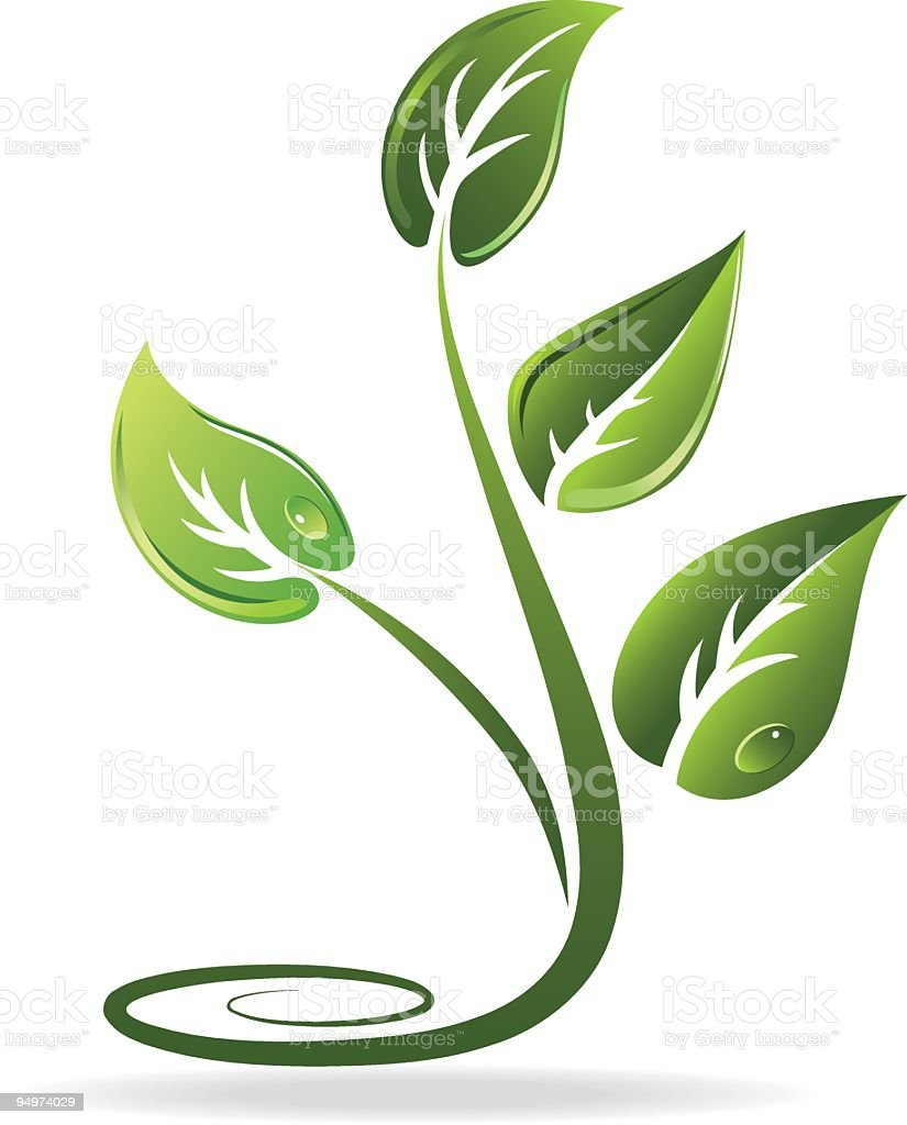 Curly Isolated Green and White Recycling Leaf Clipart Icon royalty-free stock vector art