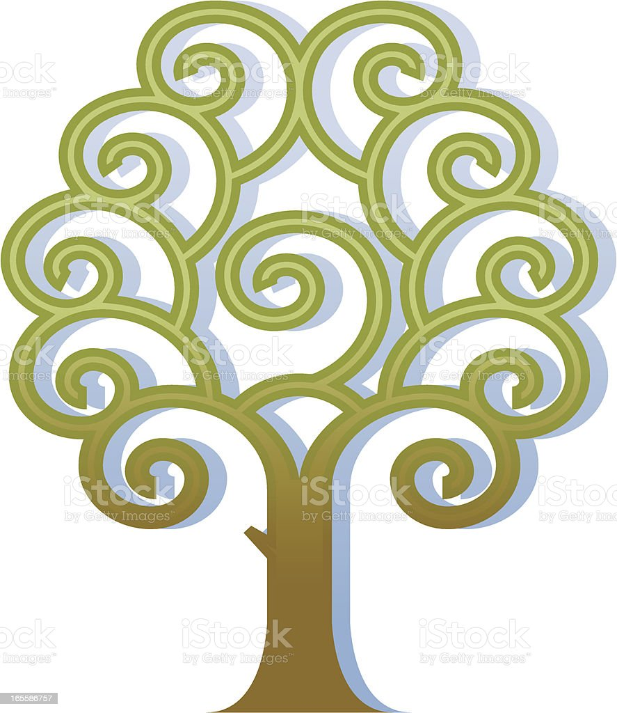 Curly tree four royalty-free stock vector art