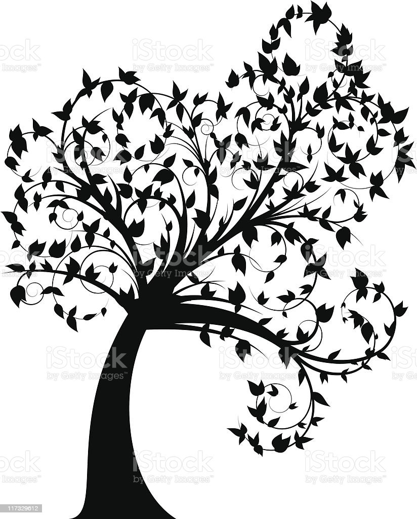 curly tree silhouette with leaves royalty-free stock vector art