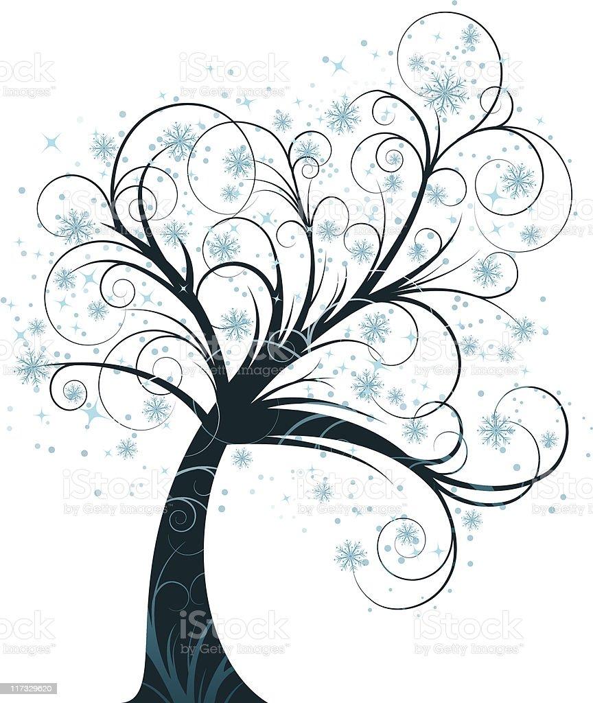 curly winter tree vector art illustration