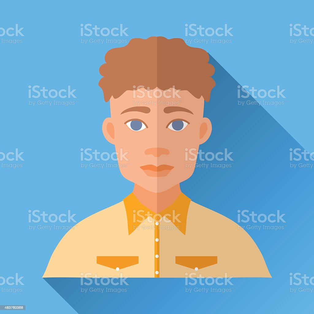 Curly-headed hipster man in a yellow shirt, square flat icon vector art illustration