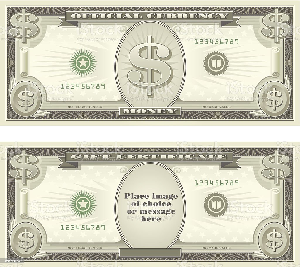 Currency and Gift Certificate vector art illustration