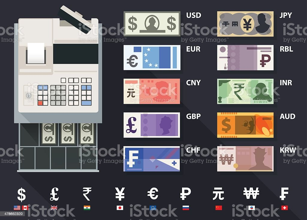 currency, bank notes and cash register vector art illustration