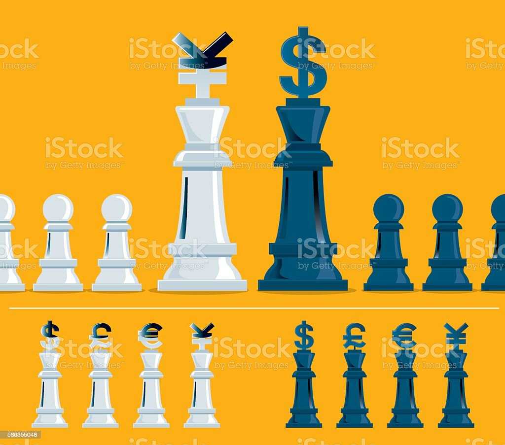 Currency Chess Set vector art illustration