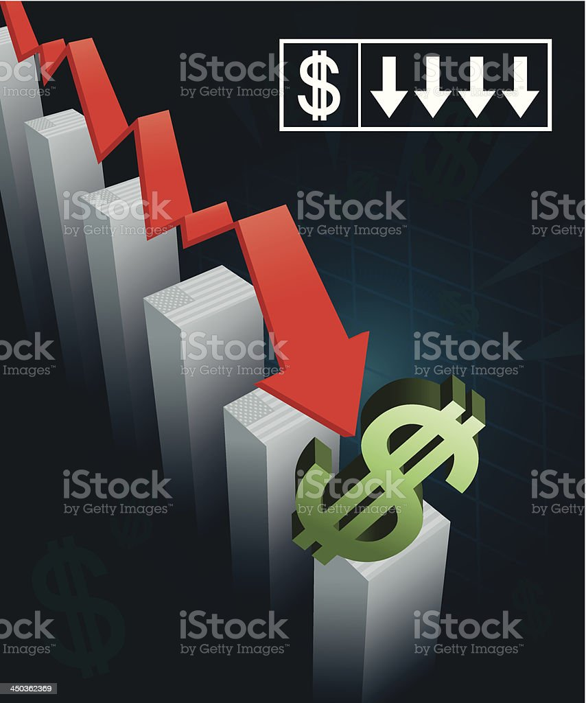 US Currency Crash vector art illustration