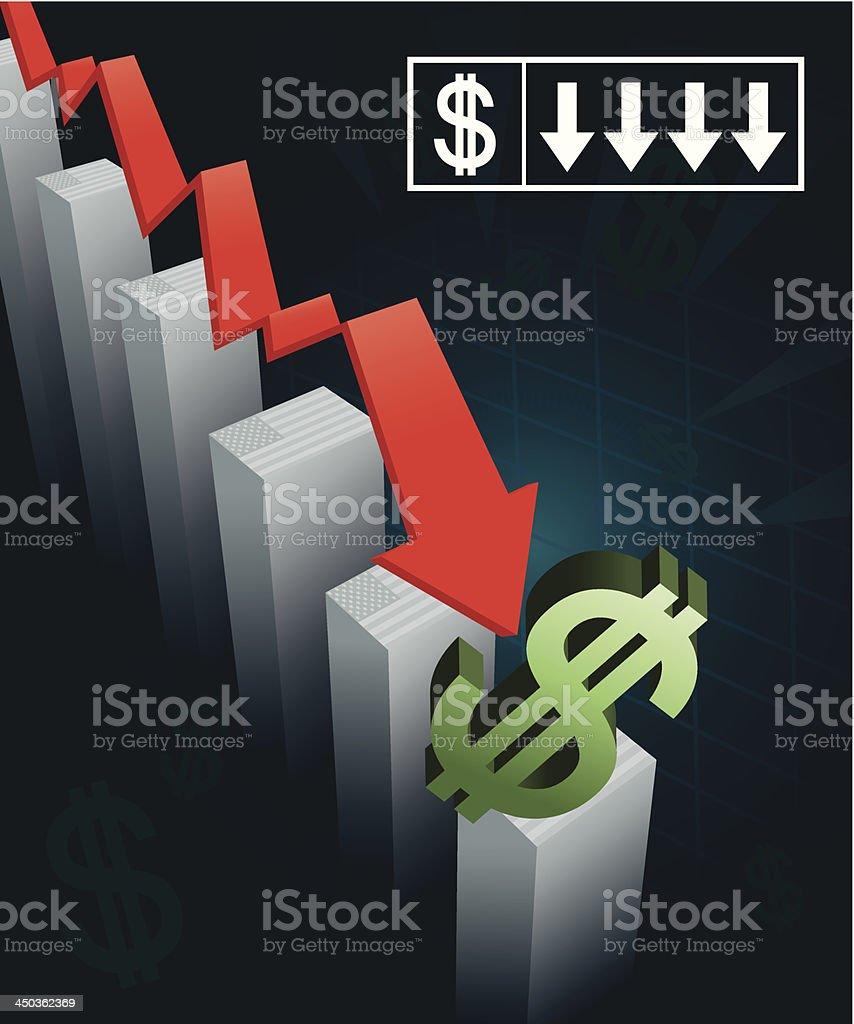 US Currency Crash vector art illustration