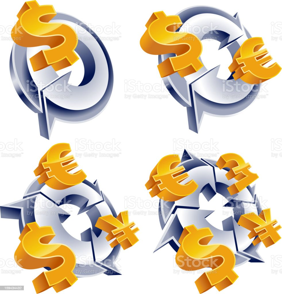 Currency, dollar, euro, yen, pound royalty-free stock photo