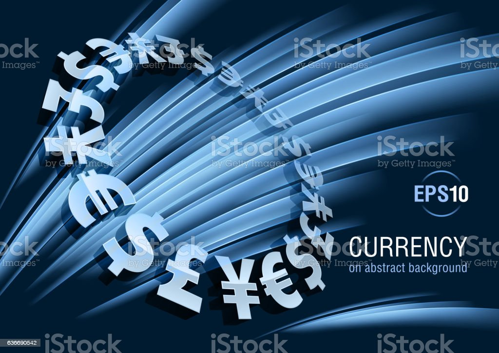 Currency, dollar, euro, yen, pound vector art illustration