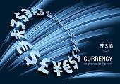 Currency, dollar, euro, yen, pound