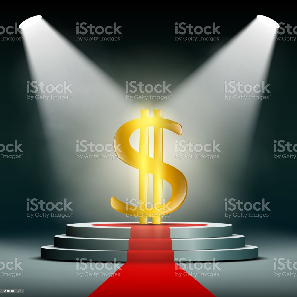 Currency dollar on a pedestal, illuminated by searchlights. vector art illustration