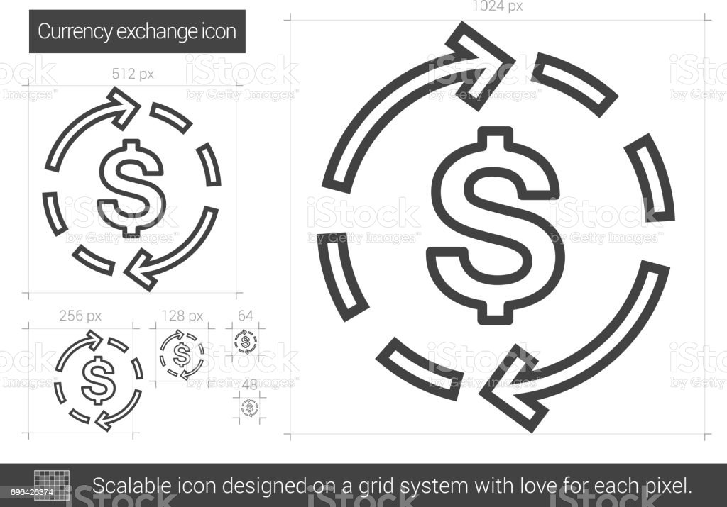 Currency exchange line icon vector art illustration