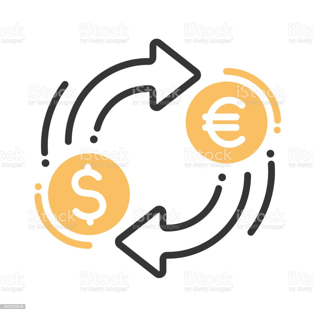 Currency exchange single icon vector art illustration