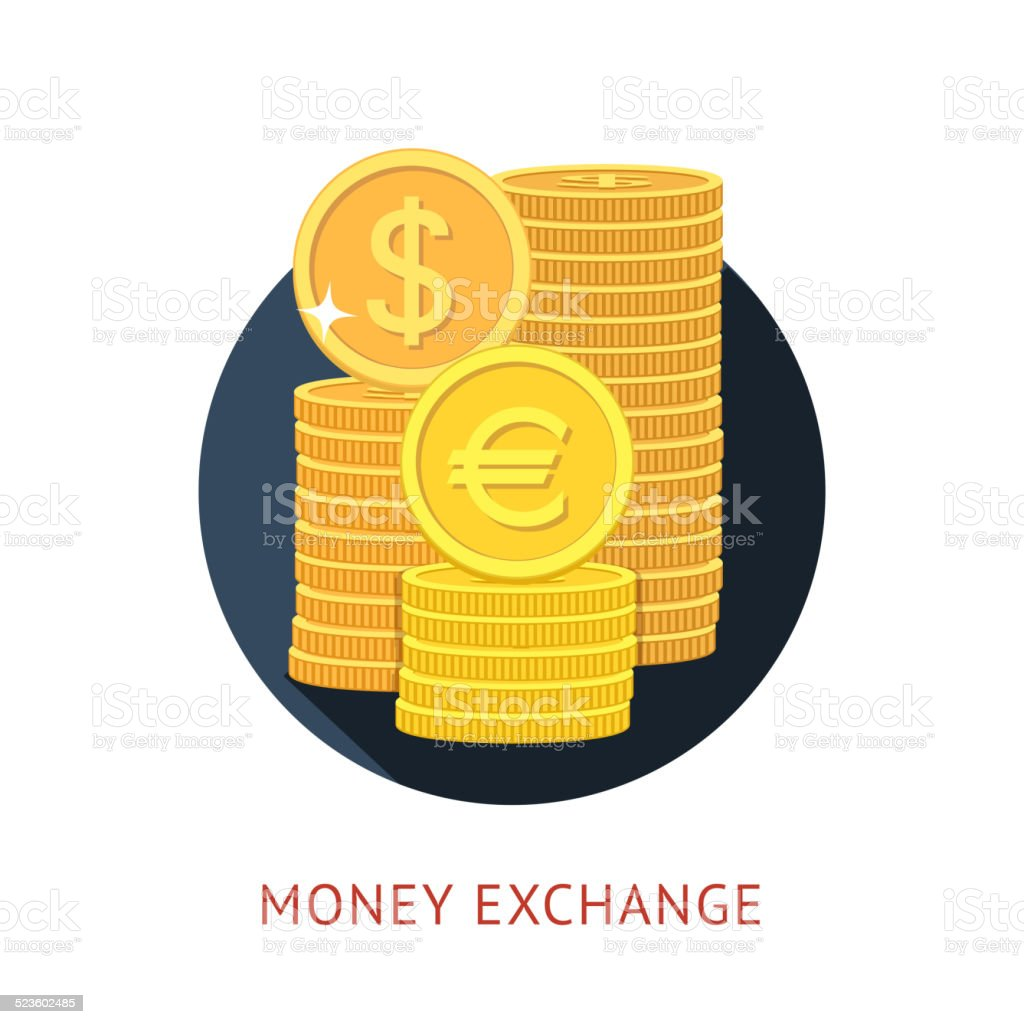 Currency exchange vector art illustration