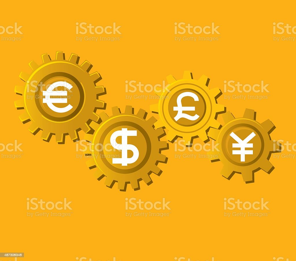 Currency Gear vector art illustration