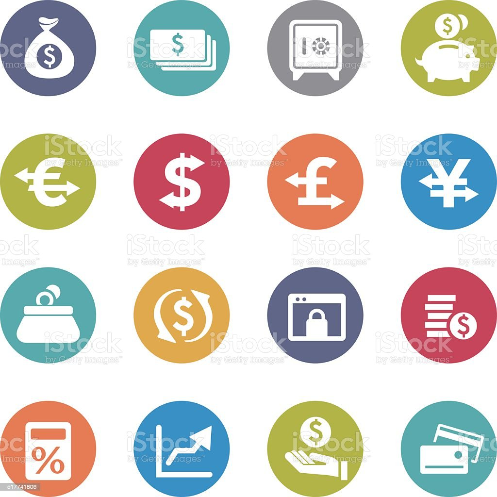 Currency Icons - Circle Series vector art illustration