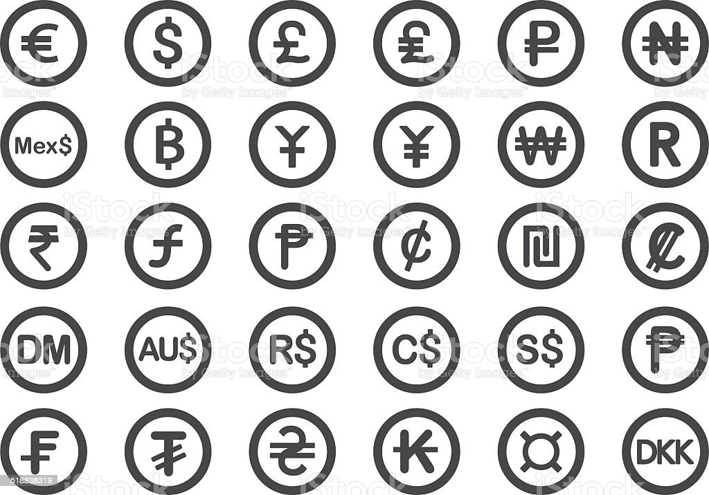 Currency icons - Illustration vector art illustration
