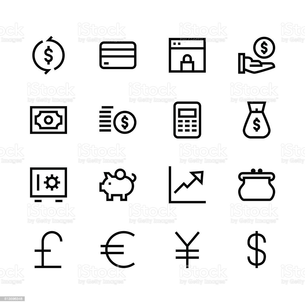 Currency icons - line - black series vector art illustration