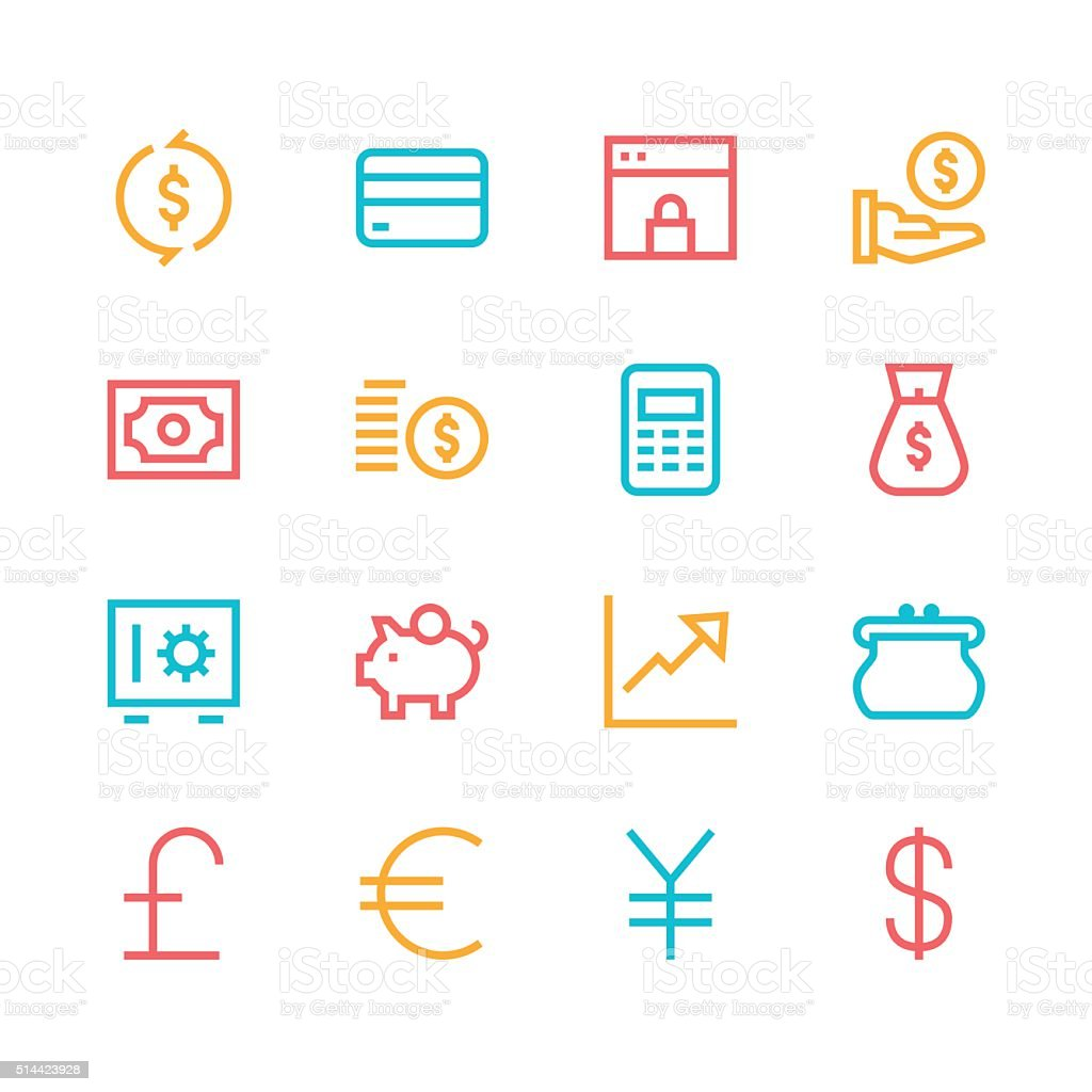 Currency icons - line - color series vector art illustration