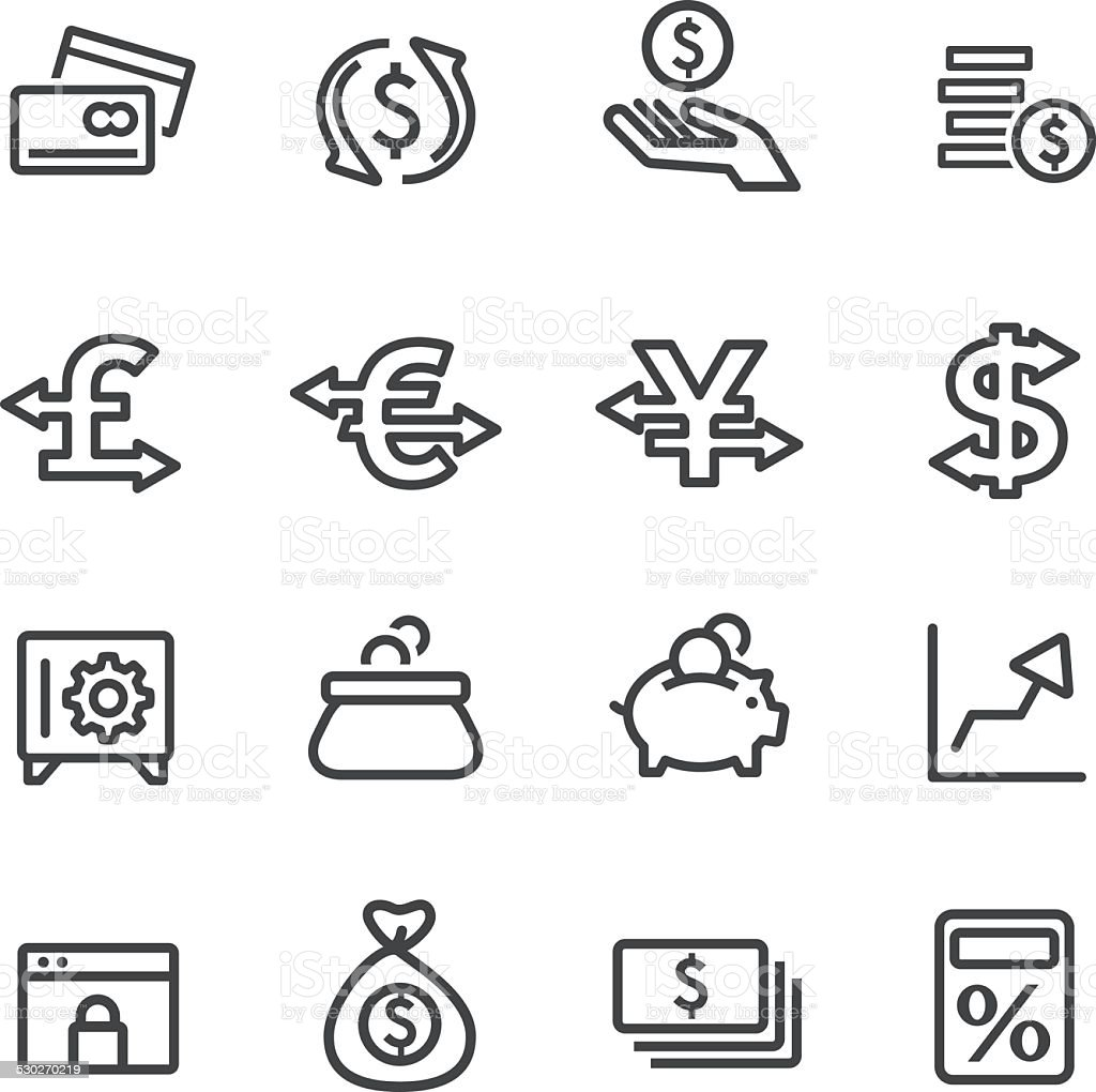 Currency Icons - Line Series vector art illustration